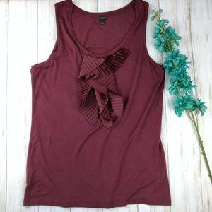 Ann Taylor ruffle tank top blouse d17